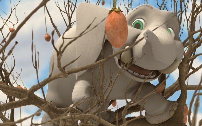 Elephant is happily eating his morning helping of seeds. Happy, that is, until he spots a much bigger meal in a tree high overhead. He will do anything to get to the enticing fruit,