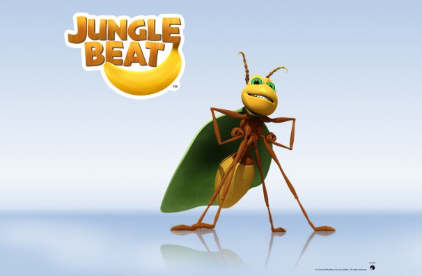 Downloadable Jungle Beat wallpaper of CGI Character Ant on a reflective surface