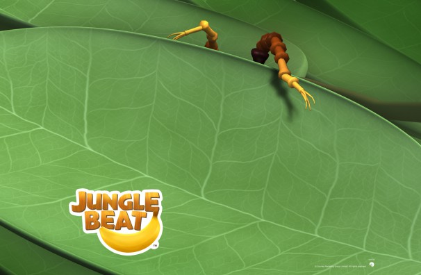 Downloadable Jungle Beat wallpaper of CGI Character Ant behind a leaf