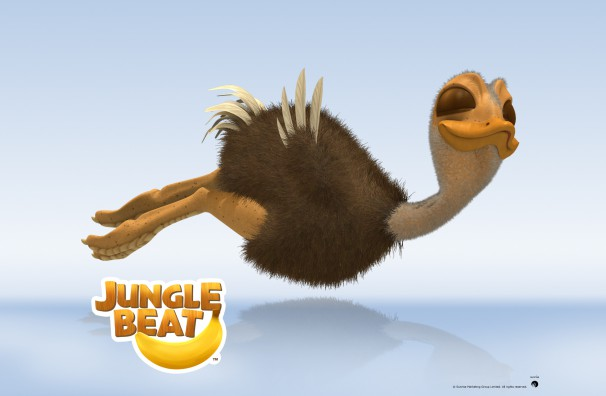 Downloadable Jungle Beat wallpaper of CGI Character Baby Ostrich on a reflective surface