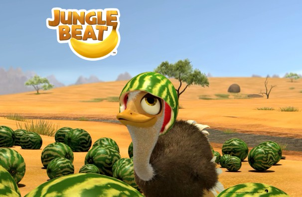 Downloadable Jungle Beat wallpaper of CGI Character Baby Ostrich with watermelon