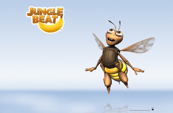 Downloadable Jungle Beat wallpaper of CGI Character Bee on a reflective surface