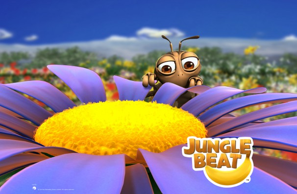 Downloadable Jungle Beat wallpaper of CGI Character Bee behind a flower