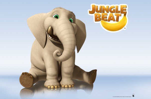 Downloadable Jungle Beat wallpaper of CGI Character Elephant on a reflective surface