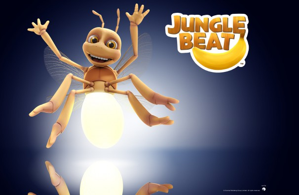 Downloadable Jungle Beat wallpaper of CGI Character Firefly on a reflective surface