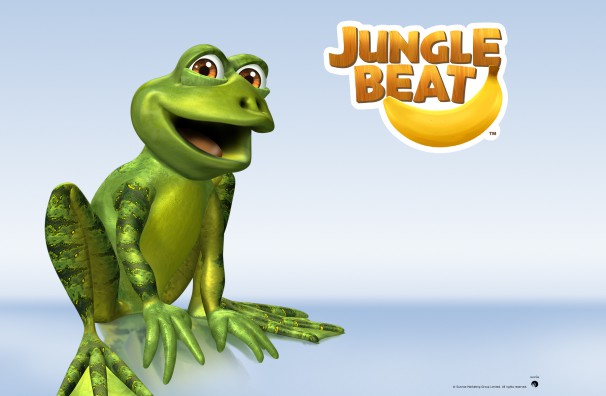 Downloadable Jungle Beat wallpaper of CGI Character Frog on a reflective surface