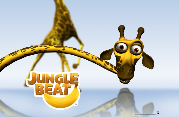 Free Downloadable Jungle Beat wallpaper of CGI Character Giraffe on a reflective surface