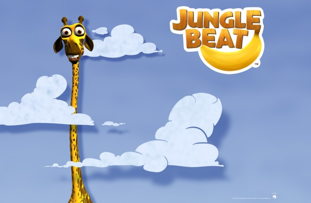 Free Downloadable Jungle Beat wallpaper of CGI Character Giraffe head in the clouds