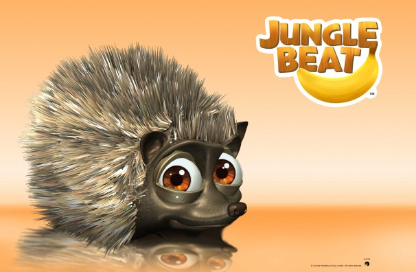 Free Downloadable Jungle Beat wallpaper of CGI Character Hedgehog on a reflective surface