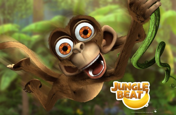Free Downloadable Jungle Beat wallpaper of CGI Character Monkey on a reflective surface