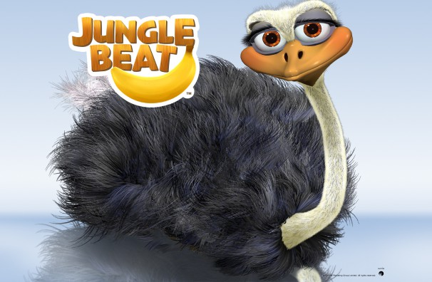 Free Downloadable Jungle Beat wallpaper of CGI Character Ostrich on a reflective surface