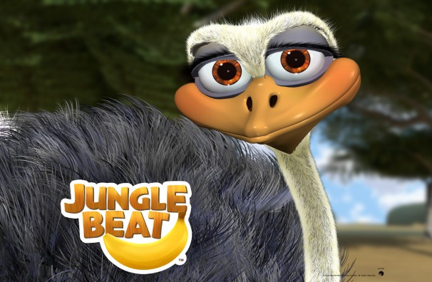 Downloadable Jungle Beat wallpaper of CGI Character Ostrich in close-up