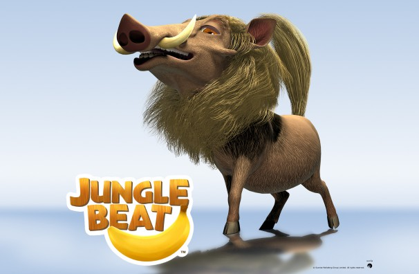 Downloadable Jungle Beat wallpaper of CGI Character Warthog on a reflective surface