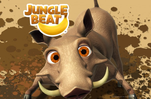 Downloadable Jungle Beat wallpaper of CGI Character Warthog in the mud