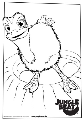 Download free print & colour page of Baby Ostrich standing