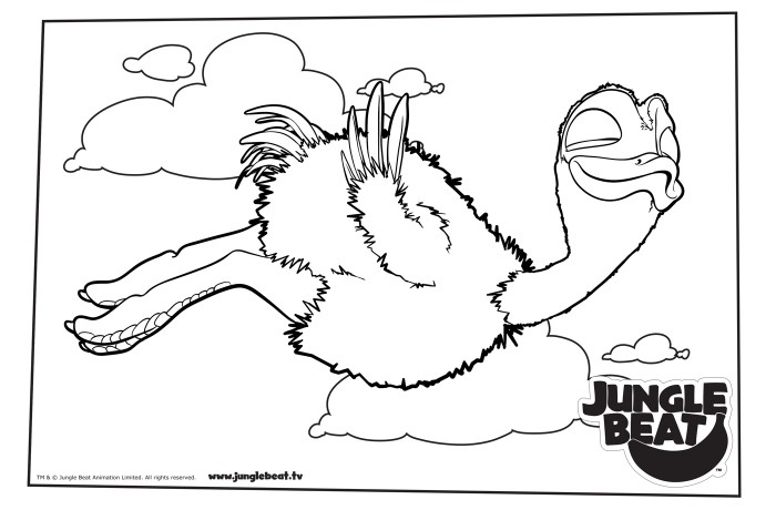 Download free print & colour page of Baby Ostrich flying