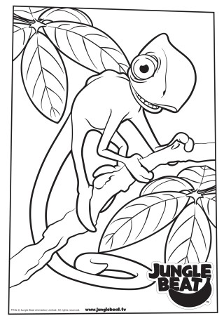 Download free print & colour page of Chameleon on a stick