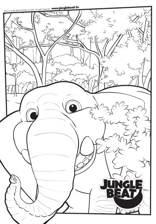 Download free print & colour page of Elephant in close-up