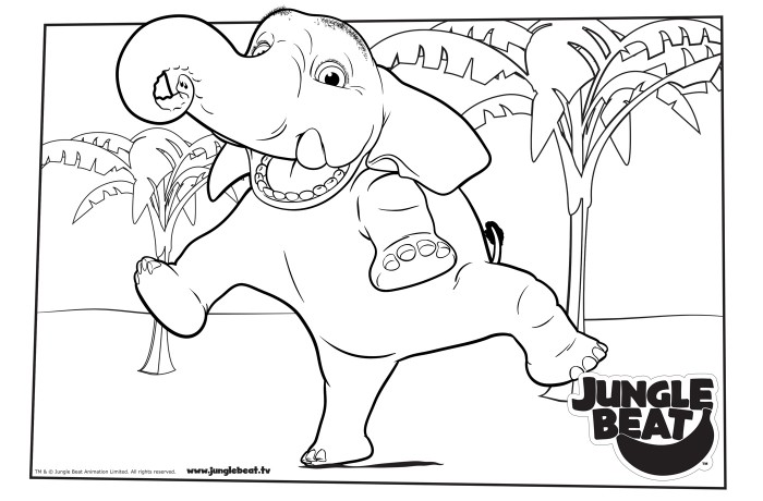 Download free print & colour page of Elephant Jumping