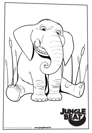 Download free print & colour page of Elephant sitting