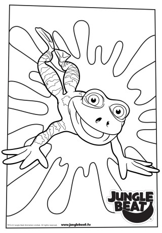 Download free print & colour page of Frog leaping