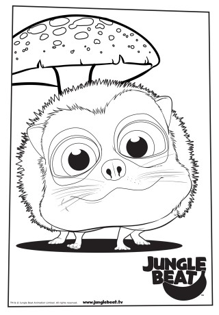 Download free print & colour page of Hedgehog and mushroom