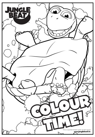 Download free print & colour page of Tortoise on his shell