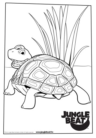 Download free print & colour page of Tortoise leaving