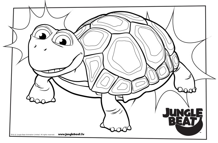 Download free print & colour page of Tortoise standing