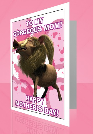 Mothers Day card with Warthog
